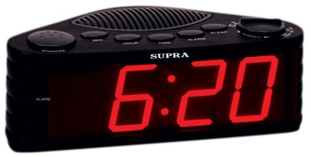 Радиочасы Supra SA-30FM black/red