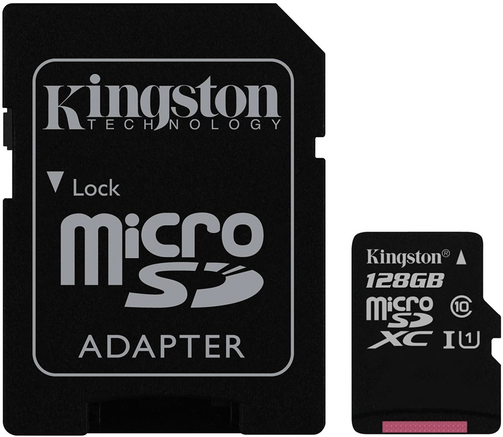 Карта памяти Kingston 128GB microSDXC Class 10 UHS-I + SD Adapter SDC10G2/128GB