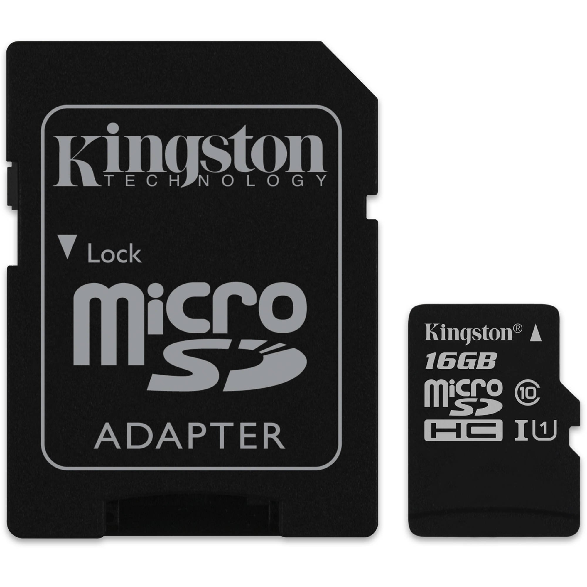 Карта памяти Kingston 16GB microSDHC Class 10 UHS-I + SD Adapter SDC10G2/16GB