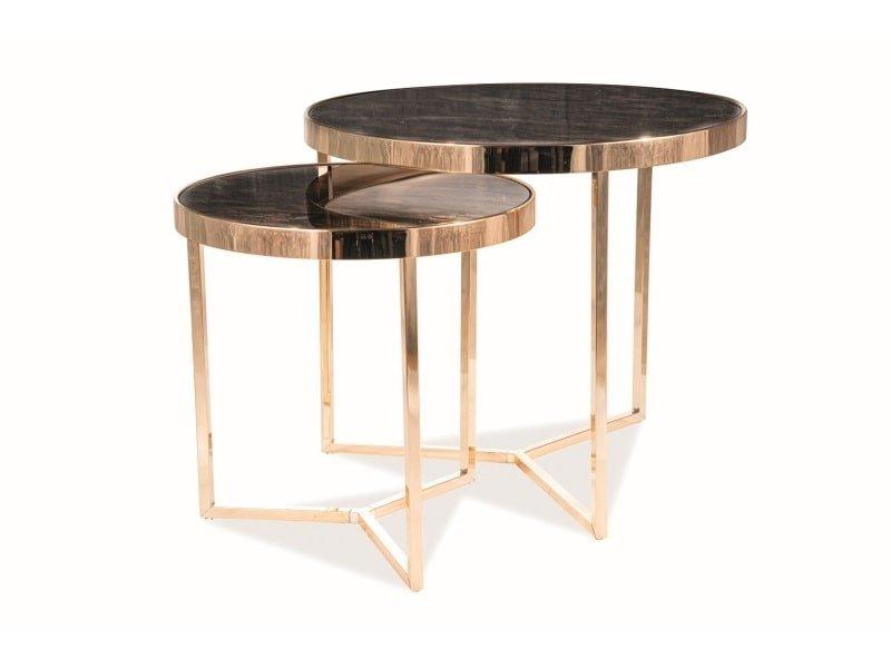 Комплект 2 стола журнальных Signal DELIA II мраморный эффект/золотой, DELIA II мраморный эффект/золотой