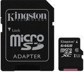 Карта памяти Kingston 64GB microSDXC Class 10 UHS-I + SD Adapter SDC10G2/64GB