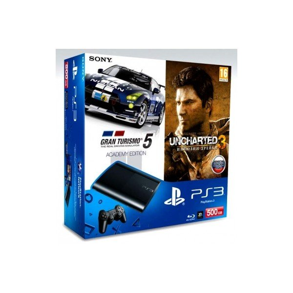 Игровая приставка Sony PlayStation 3 Super Slim 500Gb + Gran Turismo 5 Academy Edition + Uncharted 3