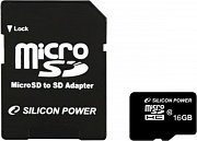 Карта памяти Silicon Power MicroSDHC SP016GBSTH010V10-SP 16Gb, Class 10, SD adapter