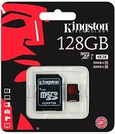 Карта памяти Kingston microSDXC 128GB UHS-I Class U3 + SD Adapter SDCA3/128GB