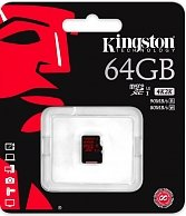 Карта памяти Kingston 64GB microSDXC UHS-I speed class 3 Single Pack w/o Adapter SDCA3/64GBSP